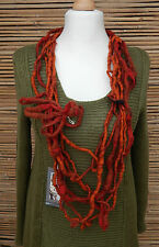 ZUZA BART*DESIGN AMAZING 100% WOOL BEAUTIFUL EXCLUSIVE QUIRKY NECKLACE*RUST*