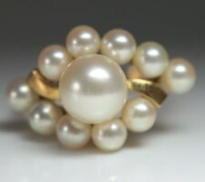 VINTAGE MIKIMOTO PEARL RING 14K GOLD CLUSTER 11 PEARLS SIZE 7 1/4