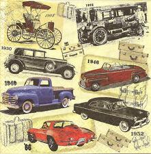 4 Documento unico per Tovaglioli decoupage Classic Cars VINTAGE