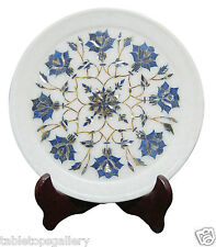 """9""""x9"""" Marble Serving Dish Plate Lapis Mosaic Marquetry Kitchen Decor Gifts H1866"""