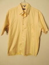 S7551 Minos Men's Large Yellow Short Sleeve Button Up 1 Pocket Casual Shirt