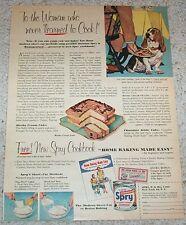 1953 print ad - Spry Shortening Mocha Cream cake recipe bassett hound dog art AD