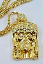 HIP HOP Gold Finish Jesus Piece Pendant Long Franco Chain 36'' long