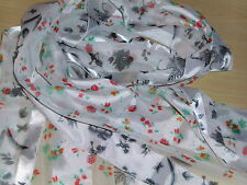 BNWT-Accessories- Dainty Floral Design on White Satin/Chiffon Scarf