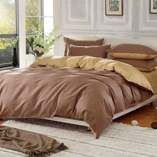 100% Cotton Duvet Cover Pillow Cases Solid Colour Reversible Bedding Double King