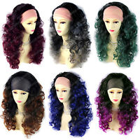 Brown Red Grey Blue Green Long 3/4 Fall Wig Hairpiece Curly Dip-Dye Ombre hair