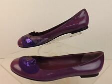 NIB MARC JACOBS PURPLE PATENT LEATHER  SPARKLE ROUND TOE BALLERINA FLAT 38 ITALY