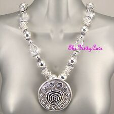 Silver Rhodium Plt Big Ethnic Ornate Disc Chunky Tribal Spiral Feature Necklace