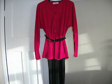 LADIES PEPLUM DRESS WITH LONG SLEEVES SIZE 12 LONG BY MARKS AND SPENCER