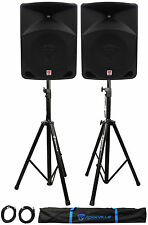 "Pair Rockville RPG10 10"" 1200w Powered PA/DJ Speakers + 2 Stands + 2 Cables+Bag"