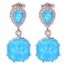 """Blue Fire Opal Zircon Women Jewelry Gift Gemstone Silver Stud Earrings 1"""" OH3512"""