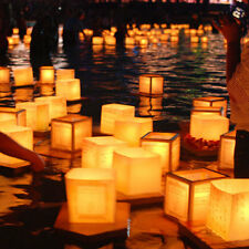 10X Chinese Square Paper Wishing Floating Water River Candle Lanterns Light Lamp