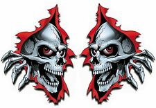 RIPPED HOLE TORN METAL SKULLS - SET OF 2 - CAR BIKE WALL DECAL STICKERS ADHESIVE