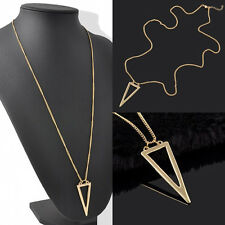 Womens Ladies Gold Plated Triangle Charms Long Chain Necklace Fashion Jewelry
