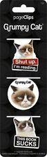 GRUMPY CAT - MAGNETIC PAGE CLIPS - BRAND NEW - BOOK READING BOOKMARK FUNNY 4608