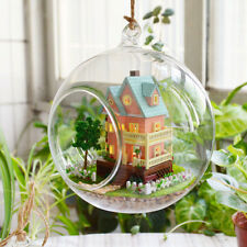 DIY  Miniature Dollhouse in Mini Glass Ball w/4 led light, (B-003)- My mini Hous