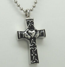 CLADDAGH CROSS URN NECKLACE CELTIC CREMATION JEWELRY MEMORIAL KEEPSAKE PENDANT