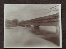 LARGE COVERED BRIDGE OVER A RIVER Vintage 1900's PHOTO - BOSTON & MAINE RR?