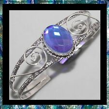 NEW - AQUA MYSTIC TOPAZ SILVER SCROLL ADJUSTABLE OPEN CUFF BANGLE BRACELET