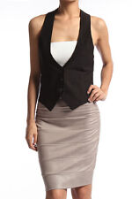 TheMogan Women's Tuxedo Dress Vest Waistcoat Sleeveless Satin Racerback Jacket
