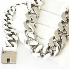POLISHED 316L SUPER HEAVY Stainless Steel Necklace Men 20mm Wide Big design 1