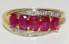A FINE ART DECO STYLE   9CT YELLOW GOLD RUBY  & DIAMOND 5 STONE  CLUSTER  RING
