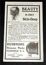 1907 OLD MAGAZINE PRINT AD, RUSHMORE DYNAMO WORKS, AUTOMOBILE SEARCHLIGHTS!