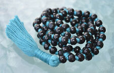 Blue and Black Wooden Beads Hand Knotted Mala Necklace - Blessed Karma Nirvana M