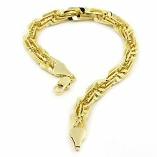 """Mens 14k Gold Plated 3D Maze Hip Hop 10mm 9"""" inches Rope Style Bracelet"""