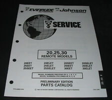 Parts Catalog OMC Evinrude Johnson 20 / 25 / 30 Remote Models Stand 08/1992