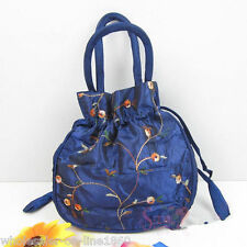 New Style Embroidered Flower Silk Satin Purse Jewelry Bag Handbag BLue