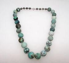 VINTAGE  OLD PAWN NAVAJO NATIVE AMERICAN STERLING 925  CARVED TURQUOISE NECKLACE