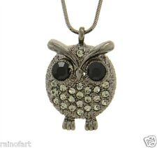 Owl W Swarovski Crystal Wise Wisdom Smart Hematite Pendant Necklace Chain
