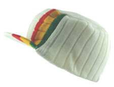Rasta Visor Beanie Cap Stripe Jamaica Reggae Hat White Red Yellow Green