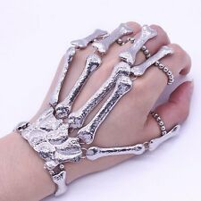 Fashion Silver Talon Skeleton Hand Finger Bone Bracelet Ring Gothic Skull Bangle