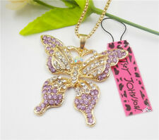 New Betsey Johnson Purple sparkling crystal butterfly pendant necklace N139