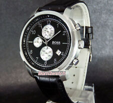 HUGO BOSS MEN WATCH CHRONOGRAPH SOLID STEEL 44mm LEATHER STRAP 1512646