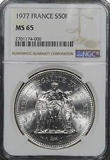 1977 France 50 Francs Silver, NGC MS65