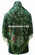 New Stunning Beaded Triangular 100% Silk Velvet Peacock Scarf Shawl Wrap, Olive