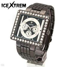 ICEXTREM Bold Men's Quartz Crystals Metallic Stainless Steel Bracelet WATCH