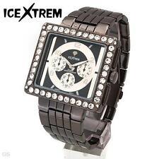 ICEXTREM Bold Men's Quartz Crystals Metallic Stainless Steel Bracelet WATCH