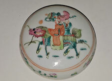China Porzellan antik porcelain boys riding a qilin famille rose paste box Dose