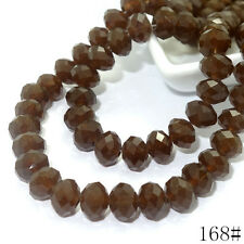 40pcs 8mm Rondelle Faceted Crystal Jade Porcelain Glass Loose Beads Coffee jade