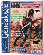 Généalogie Revue n°123; Spécial entraide/ Famille de France/ Grognards
