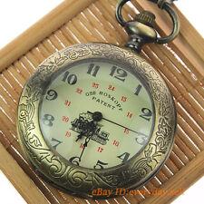 Retro Magnifier Carriage Pattern Case Men's Mechanical Pocket Watch Pendant