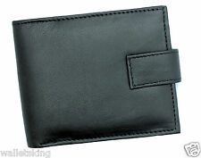 MENS SOFT GENUINE LEATHER BI-FOLD WALLET WITH ID & SECURE ZIP COIN POCKET - 421