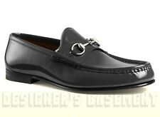 GUCCI Mens 10 charcoal 1953 patent Leather HORSEBIT loafers shoes NIB Authentic!