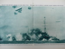 1914 CHRISTMAS DAY ZEPPELINS ATTACK BRITISH BATTLESHIPS WWI WW1 DOUBLE PAGE