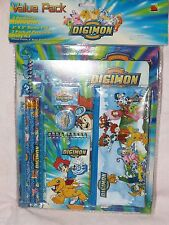 NEW DIGIMON STATIONERY SET 11 PIECES PACK FOLDER PENCILS SCHOOL SUPPLIES