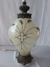 Vtg Mid-Century Opalescent White Table Lamp Gold Rose overlay Carl Falkenstein